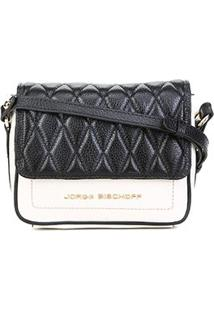 Bolsa Couro Jorge Bischoff Mini Bag Matelassê Feminina - Feminino-Off White+Preto