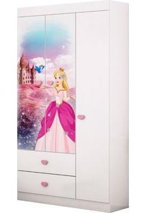 Guarda-Roupa Infantil 3 Portas Carruagem Branco,Rosa Móveis Estrela Mdf,Mdp