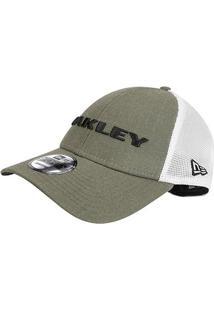 Boné Oakley Aba Curva Mod Heather New Era Masculino - Masculino-Musgo+Branco