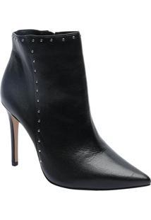 Ankle Boot Em Couro Com Rebites - Preta - Salto: 10Cdudalina