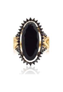 Anel Ouro Amarelo Diamantes Negros E Quartzo Negro
