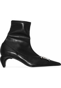 Misbhv Ankle Boot Bico Fino Com Placa Monogramada - Preto