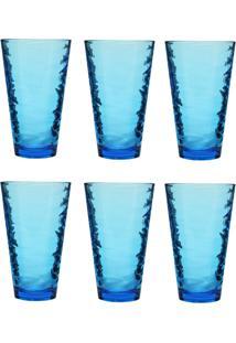 Jogo De Copos Em Vidro Azul Carisma Com 06 Peças 330Ml - Conjunto De Copos Trabalhado - Tricae