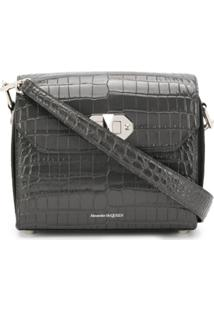 Alexander Mcqueen Crocodile-Effect Shoulder Bag - Cinza