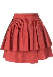 Ulla Johnson Vestido Mini Com Babados - Vermelho
