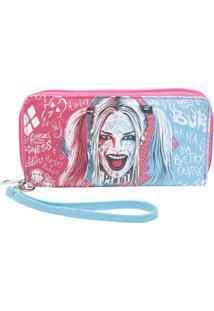 Carteira Harley Quinnâ® - Rosa & Azul - 10,5X19,2X2,5Urban