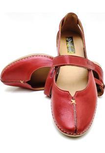 Sapatilha Feminina Drilean Em Couro Com Palmilha Em Gel - Velcro Vermelho