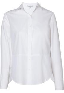 Camisa Dudalina Manga Longa Tricoline Maquinetado Folhas Feminina (Branco, 44)