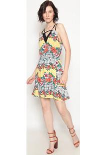 Vestido Floral Com Recortes- Amarelo & Laranja- Operoperate