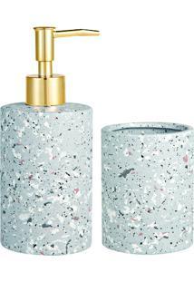 Jogo Para Banheiro Em Cerâmica- Rosê Gold & Cinza- 2Mart