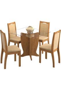 Sala De Jantar Luana 100 Cm Com 4 Cadeiras Savana Sued Marfim