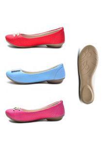 Kit Sapatilhas Ded Calçados 3 Pares Bico Redondo Vermelho