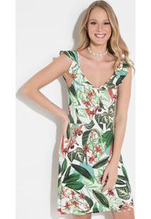 6928b04270 Posthaus. Vestido Quintess Floral Verde Decote ...