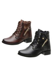 Kit 2 Coturnos Ousy Shoes Botinha Preto