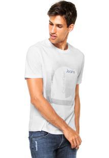 Camiseta Manga Curta Calvin Klein Jeans Estampa Branca/Cinza