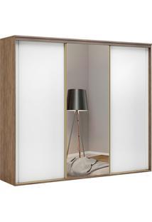 Guarda-Roupa Casal 2,67Cm 3 Portas C/ Espelho Inovatto Fosco-Belmax - Ebano / Branco