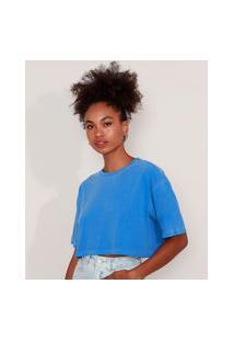 T-Shirt Oversized Cropped De Algodão Manga Curta Decote Redondo Mindset Azul Royal