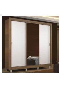 Guarda Roupa Casal Madesa Mônaco 3 Portas De Correr Com Espelho Com Pés Rustic/Branco Cor:Rustic/Branco