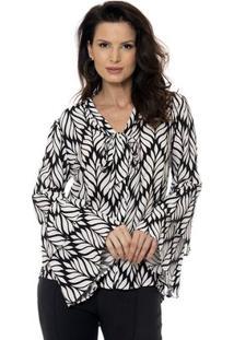 Camisa Bisô Laço Folhas Femininas - Feminino-Preto