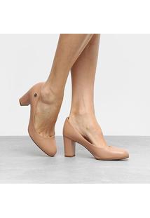 Scarpin Vizzano Salto Médio Bico Redondo - Feminino-Nude