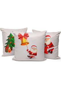 Kit 3 Capas Para Almofada Love Decors Decorativas Papai Noel Cute - Branco - Dafiti