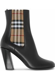 Burberry Ankle Boot Com Detalhe De Xadrez Vintage - Preto