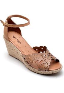 Sandália Anabela Couro D&R Shoes Feminina - Feminino-Marrom