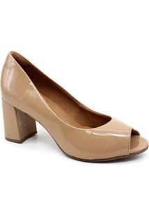 Sapato Peep Toe Bebecê 6013-544 Verniz Feminino - Feminino-Nude