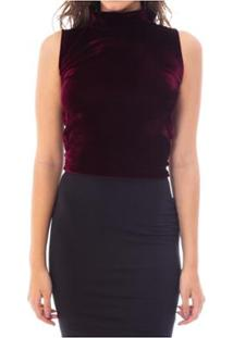 Blusa Moda Vício Regata Gola Alta Veludo Feminino - Feminino-Vinho