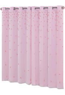 Cortina Sofi㪠Para Varã£O Simples 2.00M X 1.70M. Rosa - Multicolorido - Dafiti