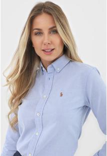 Camisa Polo Ralph Lauren Slim Logo Azul