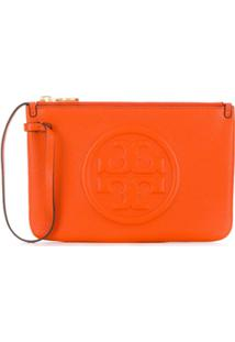 Tory Burch Top Zip Closure Clutch Bag - Laranja