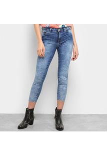 Calça Cropped Jeans Sawary Push Up Feminina - Feminino-Azul