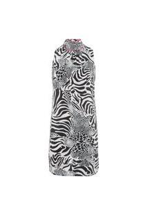 Vestido Seda Fiorella Gola Animale - Animal Print