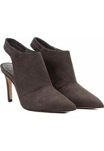 Ankle Boot Chanel Couro Capodarte Salto Fino - Feminino-Cinza