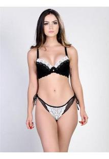 Conjunto Chic22 Yasmin Lingerie Feminino - Feminino-Preto+Branco