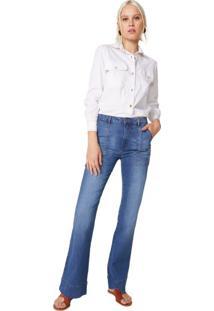 Calça Jeans Flare Bolsos Retangulares