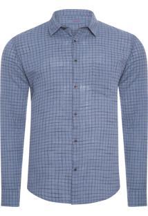 Camisa Masculina Riva Outline Color - Azul