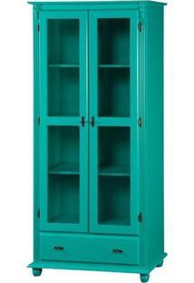 Cristaleira 2 Portas + 3 Prateleiras + 1 Gaveta Com Laterais De Madeira - Verde Mimo - Tommy Design