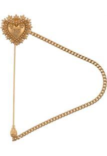 Dolce & Gabbana Broche Com Logo Em Relevo - Dourado