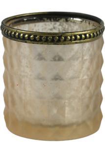 Catisçal Decorando Com Clase Vidro Bege C/Dourado 7X7Cm