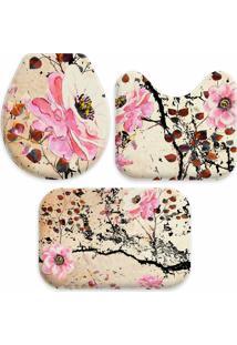 Jogo Tapetes Love Decor Para Banheiro Pintura Flores Rosa Único - Kanui