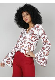 Blusa Feminina Estampada De Paisley Manga Longa Sino Branca