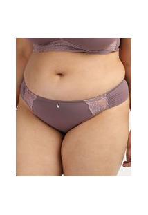 Calcinha Feminina Dilady Plus Size Biquíni Em Microfibra Lilás