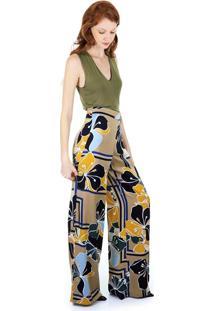 Calça Aha Pantalona Estampada Com Cós Marcado Caqui