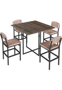 Conjunto De Mesa Para Sala De Jantar Com 4 Banquetas 1954-Brastubo - Am Negra / Preto