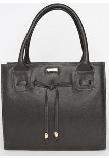Bolsa Em Couro Com Amarração- Marrom Escuro- 29X34X1Anette
