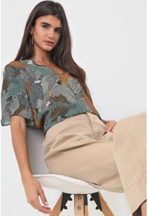 Camiseta Colcci Estampada Verde/Bege - Kanui