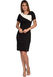 Vestido Pirony Saia Preta E Blusa Detalhe Couro Marfim/Preto Ref. 116508-5