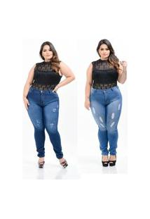 Kit 2 Calças Destmoda Jeans Plus Size Azul